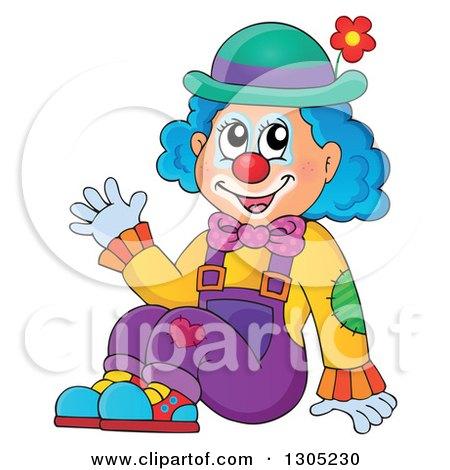 Cartoon Friendly Clown Sitting and Waving Posters, Art Prints