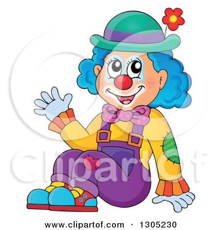 Clipart of a Cartoon Friendly Clown Sitting and Waving - Royalty Free Vector Illustration by visekart