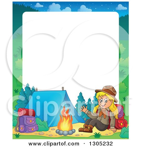 Girl Scout Camping Clipart Royalty-Free Vector Cl...