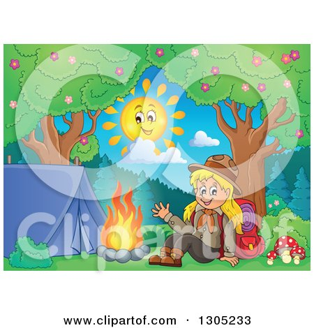 Clipart of a Cartoon Blond White Girl Scout Sitting and Waving at a Camp Site on a Sunny Day - Royalty Free Vector Illustration by visekart