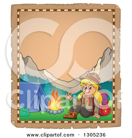 Clipart of a Worn Parchment Page with a Blond White Girl Scout Camping - Royalty Free Vector Illustration by visekart