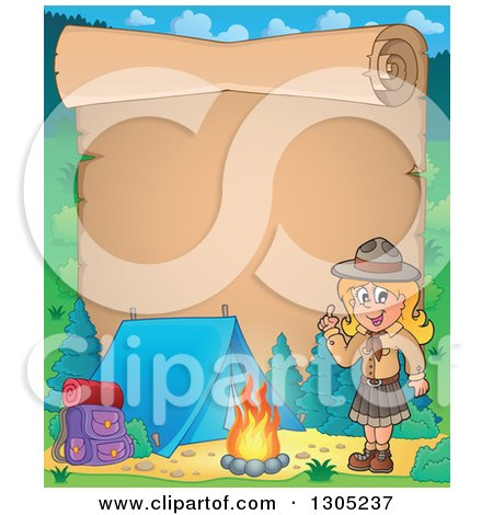 Clipart of a Parchment Scroll Page with a Blond White Girl Scout Camping and Holding up a Finger by a Fire - Royalty Free Vector Illustration by visekart
