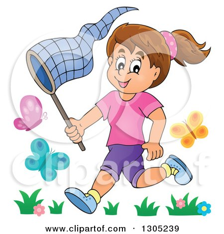 Clipart of a Cartoon Happy Brunette White Girl Chasing Butterflies with a Net - Royalty Free Vector Illustration by visekart