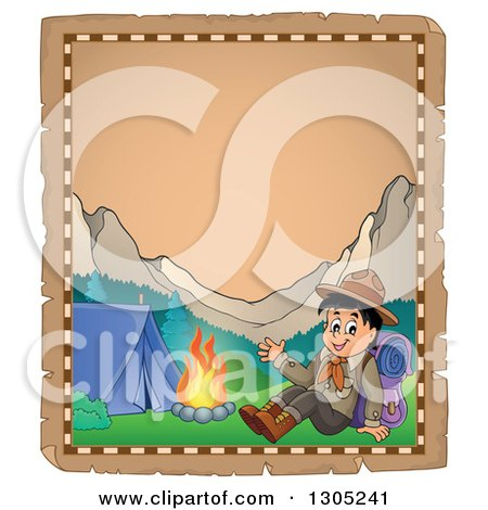 Clipart of a Worn Parchment Page with a Boy Scout Resting by a Camp Fire and Mounains - Royalty Free Vector Illustration by visekart