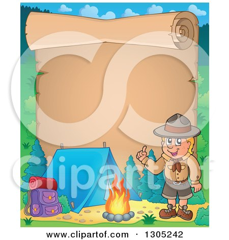 Clipart of a Parchment Scroll Page with a Boy Scout Talking by a Camp Fire - Royalty Free Vector Illustration by visekart
