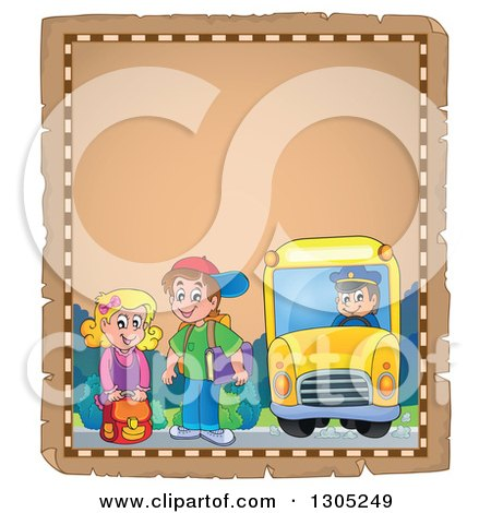 Clipart of Worn Parchment Page of White Children Being Picked up at a School Bus Stop - Royalty Free Vector Illustration by visekart