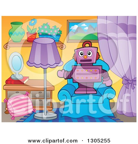 Clipart of a Cartoon Purple Robot Standing and Presenting on a Living Room Chair - Royalty Free Vector Illustration by visekart