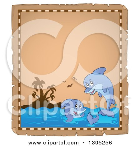 Clipart of a Worn Parchment Page of an Island and Playful Dolphins - Royalty Free Vector Illustration by visekart