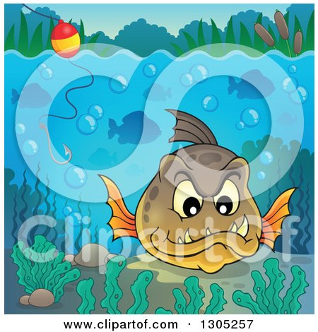 Clipart of a Carnivorous Piranha Fish Underwater, with a Hook and Visible Surface - Royalty Free Vector Illustration by visekart