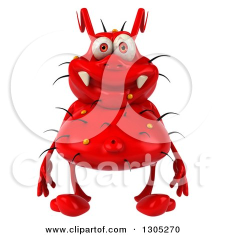 Clipart of a 3d Red Germ Virus - Royalty Free Illustration by Julos