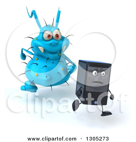 Clipart of a 3d Blue Germ Virus Monster Chasing a Computer Tower - Royalty Free Illustration by Julos