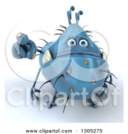 Clipart of a 3d Blue Germ Monster Pointing Outwards| Royalty Free Illustration by Julos