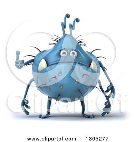 Clipart of a 3d Blue Germ Monster Giving a Thumb up - Royalty Free Illustration by Julos