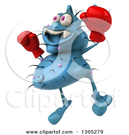 Clipart of a 3d Blue Germ Virus Facing Slightly Left, Wearing Boxing Gloves and Jumping - Royalty Free Illustration by Julos