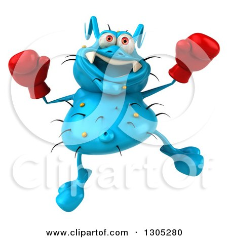 Clipart of a 3d Blue Germ Virus Wearing Boxing Gloves and Jumping - Royalty Free Illustration by Julos