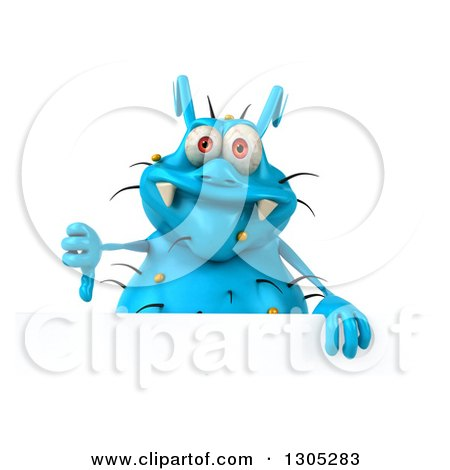 Clipart of a 3d Blue Germ Virus Giving a Thumb down over a Sign - Royalty Free Illustration by Julos