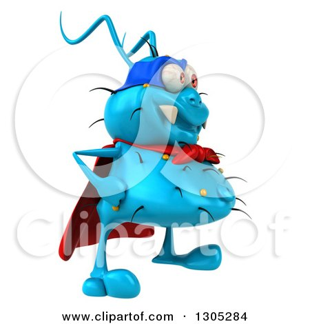 Clipart of a 3d Blue Germ Virus Super Hero Facing Right - Royalty Free Illustration by Julos