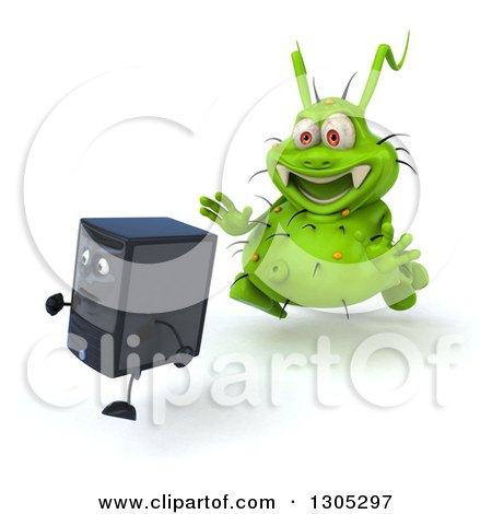 Clipart of a 3d Green Germ Virus Monster Chasing a Computer Tower - Royalty Free Illustration by Julos