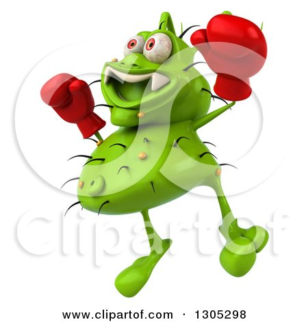 Clipart of a 3d Green Germ Virus Wearing Boxing Gloves, Facing Slightly Left and Jumping - Royalty Free Illustration by Julos