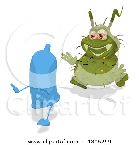 Clipart of a Cartoon Green Germ Virus Chasing a Blue Condom - Royalty Free Illustration by Julos