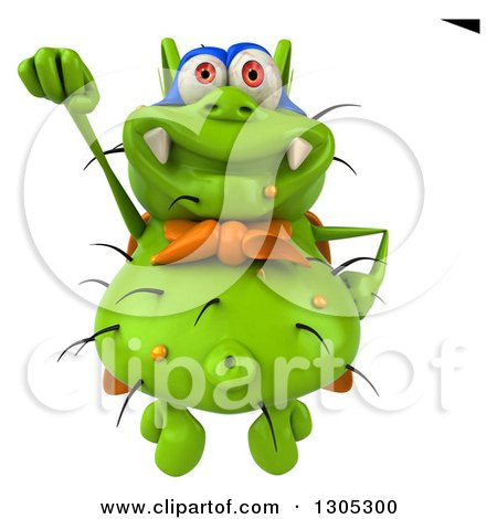 Clipart of a 3d Green Germ Virus Super Hero Flying - Royalty Free Illustration by Julos