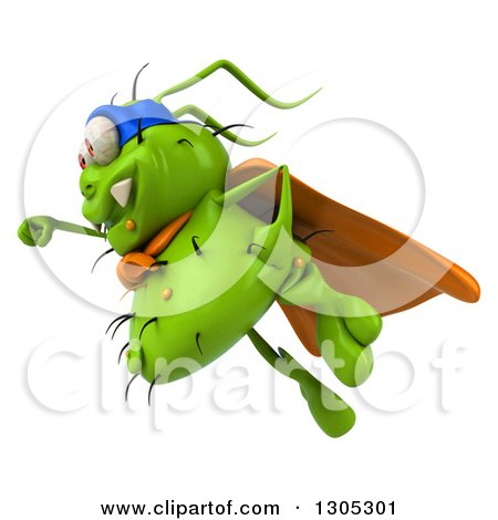 Clipart of a 3d Green Germ Virus Super Hero Flying to the Left - Royalty Free Illustration by Julos