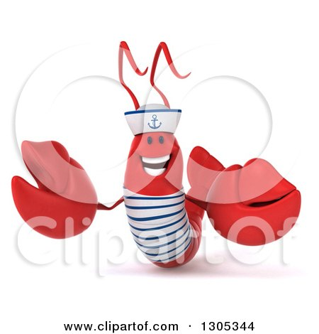 Clipart of a 3d Happy Sailor Lobster Presenting - Royalty Free Illustration by Julos