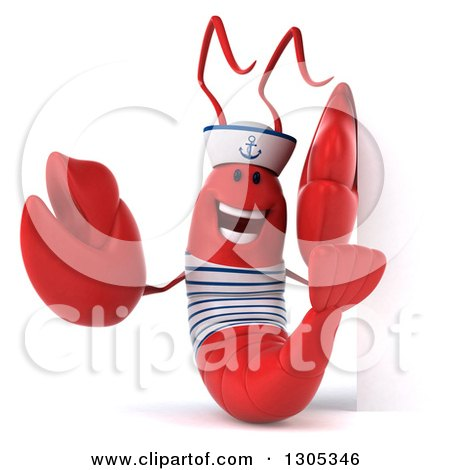 Clipart of a 3d Happy Sailor Lobster Pointing Around a Sign - Royalty Free Illustration by Julos