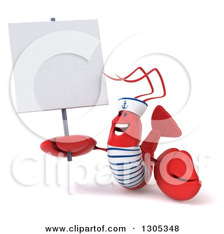 Clipart of a 3d Happy Sailor Lobster Holding up and Looking at a Blank Sign - Royalty Free Illustration by Julos