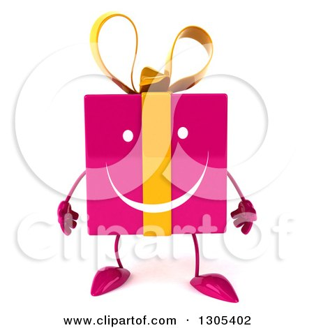 Clipart of a 3d Happy Pink Gift Character - Royalty Free Illustration by Julos