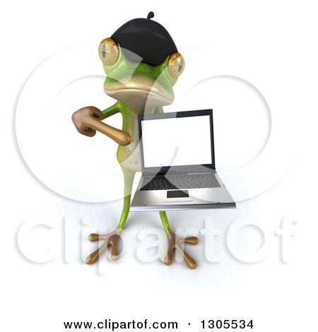 Clipart of a 3d French Frog Holding up and Pointing to a Blank Screen on a Laptop - Royalty Free Illustration by Julos