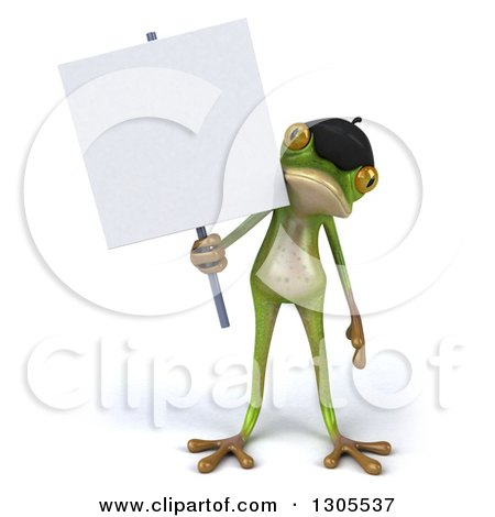 Clipart of a 3d French Frog Holding a Blank Sign - Royalty Free Illustration by Julos