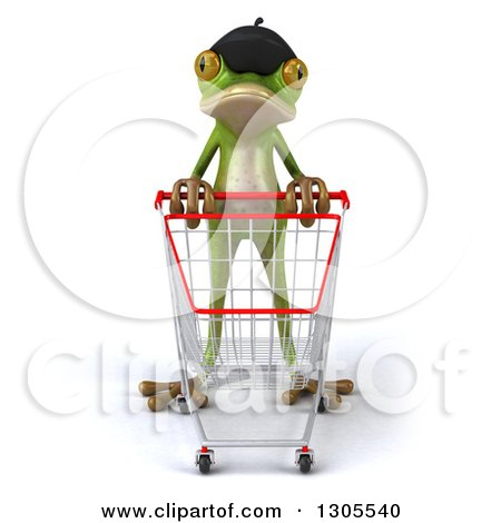 Clipart of a 3d French Frog Pushing an Empty Shopping Cart - Royalty Free Illustration by Julos