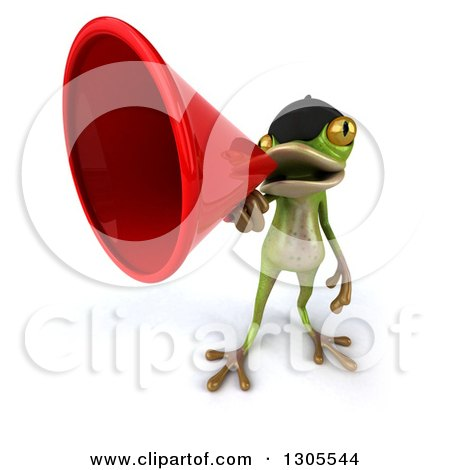 Clipart of a 3d French Frog Announcing Upwards with a Megaphone - Royalty Free Illustration by Julos