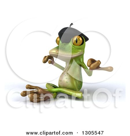 Clipart of a 3d French Frog Facing Left and Meditating - Royalty Free Illustration by Julos