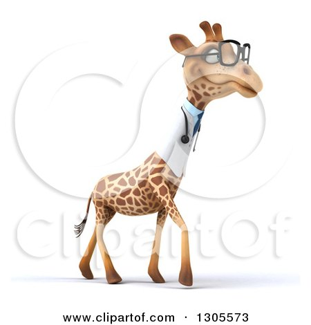 Clipart of a 3d Bespectacled Doctor or Veterinarian Giraffe Facing Right and Walking - Royalty Free Illustration by Julos