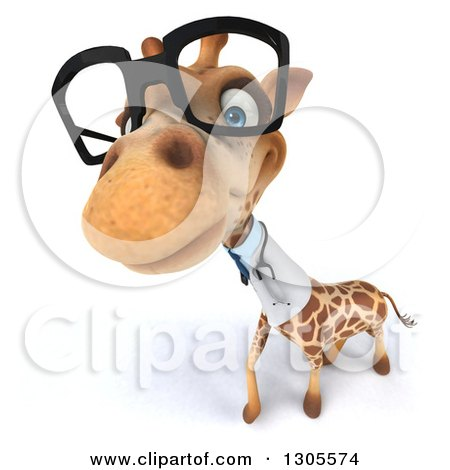 Clipart of a 3d Bespectacled Doctor or Veterinarian Giraffe Looking up - Royalty Free Illustration by Julos