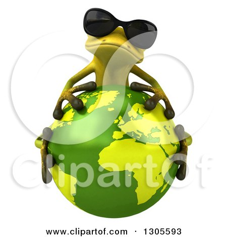 Clipart of a 3d Light Green Springer Frog Wearing Sunglasses and Hugging Planet Earth - Royalty Free Illustration by Julos