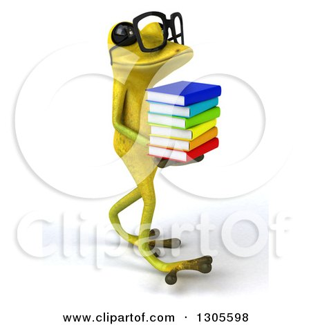 Clipart of a 3d Bespectacled Light Green Springer Frog Walking to the Right and Holding a Stack of Books - Royalty Free Illustration by Julos