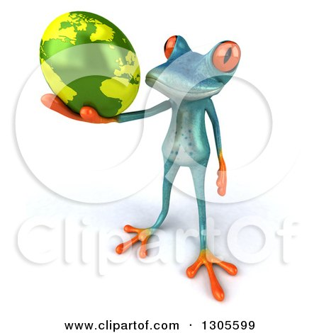 Clipart of a 3d Turquoise Springer Frog Holding up Planet Earth - Royalty Free Illustration by Julos