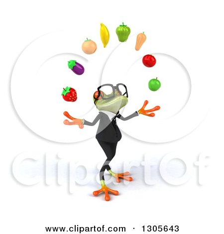Clipart of a 3d Bespectacled Green Business Springer Frog Facing Right and Juggling Produce - Royalty Free Illustration by Julos