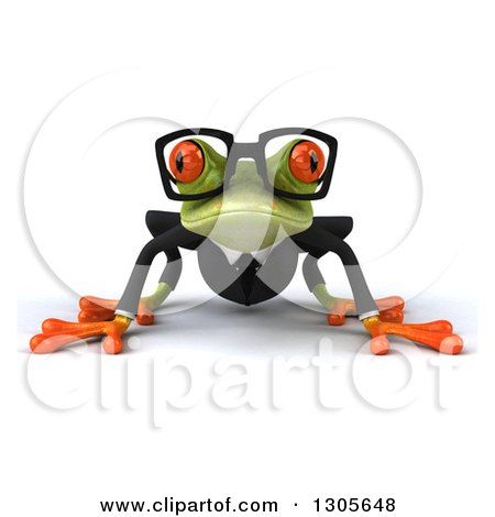 Clipart of a 3d Bespectacled Green Business Springer Frog on All Fours - Royalty Free Illustration by Julos