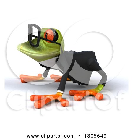 Clipart of a 3d Bespectacled Green Business Springer Frog on All Fours, Facing Left - Royalty Free Illustration by Julos