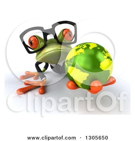 Clipart of a 3d Bespectacled Green Business Springer Frog on All Fours, Holding out Earth - Royalty Free Illustration by Julos