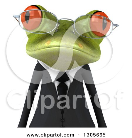 Clipart of a 3d Bespectacled Green Business Springer Frog Avatar - Royalty Free Illustration by Julos