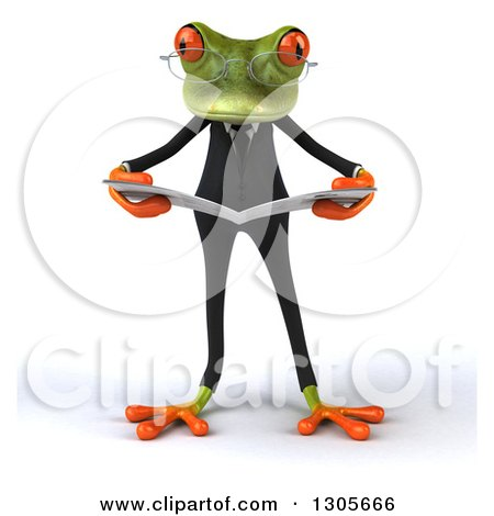 Clipart of a 3d Bespectacled Green Business Springer Frog Reading a Newspaper - Royalty Free Illustration by Julos