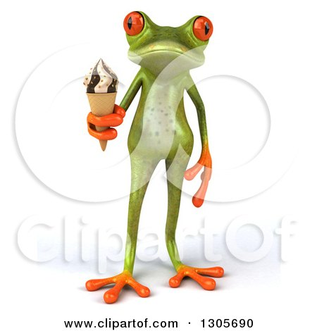 Clipart of a 3d Green Springer Frog Holding a Waffle Ice Cream Cone - Royalty Free Illustration by Julos