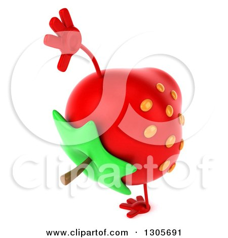 Clipart of a 3d Strawberry Character Facing Right and Cartwheeling - Royalty Free Illustration by Julos