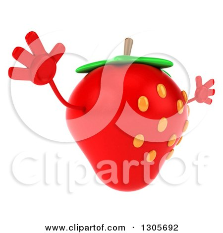 Clipart of a 3d Strawberry Character Facing Right and Jumping - Royalty Free Illustration by Julos