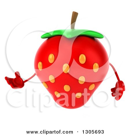 Clipart of a 3d Strawberry Character Presenting to the Left - Royalty Free Illustration by Julos